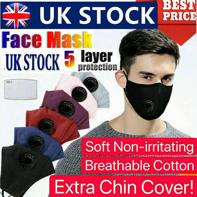 £0.99 • Buy Cotton 5Layered Protective Face Mask Washable Reusable Breathable Comfort  PM2.5