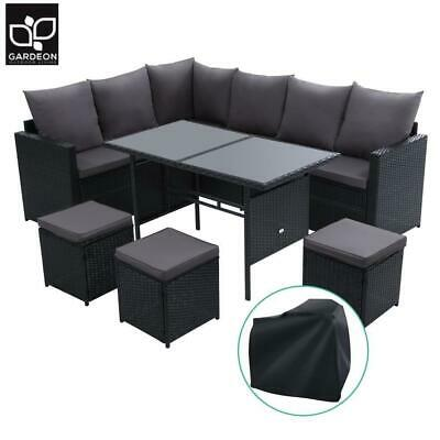 AU770.40 • Buy Gardeon Outdoor Furniture Dining Setting Sofa Set Wicker 9 Seater Storage Cover