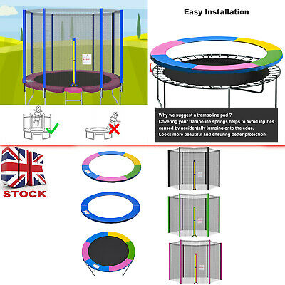£26.99 • Buy 8 10 12 13 14FT Replacement Trampoline Safety Net And Spring Cover Padding Pads