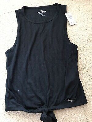 £6 • Buy Hollister Womens Black Short Sleeve  Top With Tie Front Medium Uk12 With Labels