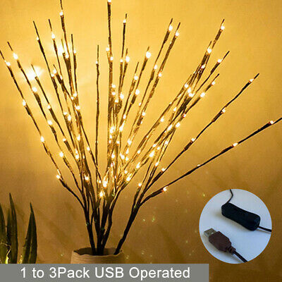 £6.29 • Buy UK Christmas 60 LED Branch Twig Lights Bulbs Willow Branches USB Plug-in Decor