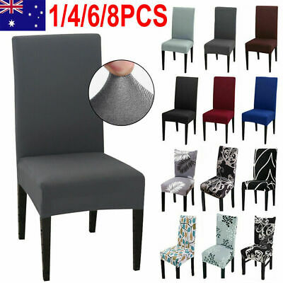 AU4.99 • Buy 1-8 PCS Dining Chair Covers Spandex Cover Stretch Washable Wedding Banquet Party
