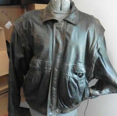 $50 • Buy Vintage Midway Distressed Brown Bomber Aviator Flight Leather Jacket Mens XL