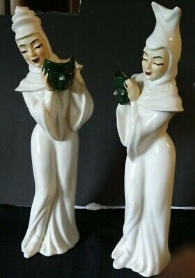 $59.99 • Buy Vintage Madison Ceramic Arts Studio Comedy And Tragedy With Mask White Figurines