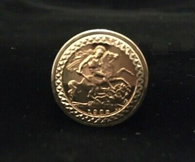 £295 • Buy 22ct Half Sovereign (1982) Ring - 9ct Fretwork Mount Size W 3/4
