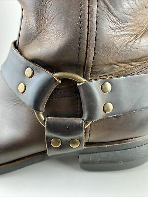 $125 • Buy Frye Gaucho Brown Brass Ring Harness Leather Motorcycle Boots Men's Size US 12M