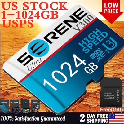 $3.07 • Buy Micro SD Memory Card 128GB 256GB 512GB 1TB C10 Fast Flash TF Cards With Adapter