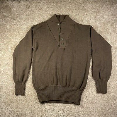 $49.99 • Buy Vintage Garrison Collection Mens Military OD Brown 5 Button Henley Sweater XL