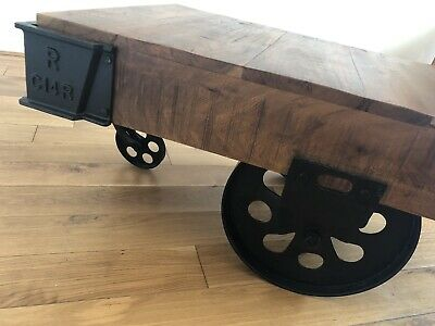 £250 • Buy Industrial Cart Coffee Table Wood Wheels Wooden Furniture Vintage Style Couch