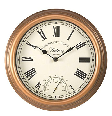 £15.99 • Buy Smart Garden Outdoor Astbury Round Analogue Wall Clock And Thermometer 12 Inch
