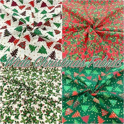 £4.65 • Buy CHRISTMAS Cotton Fabric Festive Holly Trees Craft And Dressmaking 140cm Wide