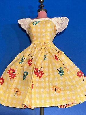 $ CDN4.98 • Buy Barbie Clone Vintage Dress 1960S Yellow Checkered & Floral Pattern 🌻