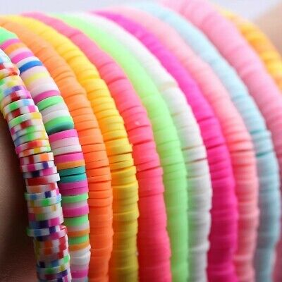 £2.99 • Buy 6mm Polymer Clay Beads Round Flat Heishi Disc Beads ~210 Pcs Neon Bright Pastel