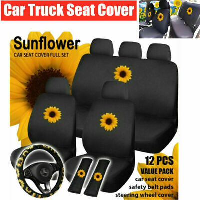 $36.59 • Buy Universal Car SUV Truck Seat Cover Cotton Cushion Protector Steering Wheel Cover