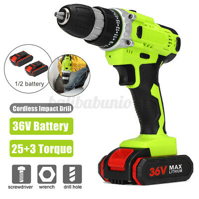 £28.99 • Buy 36V Cordless Drill Hammer Electric Impact Driver Screwdriver W/2Battery+Charger