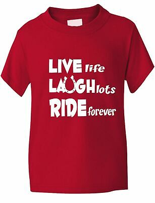 £7.99 • Buy Live Laugh Ride Horse Riding Equesterian Funny Pony Kids T Shirt  Age 1-13