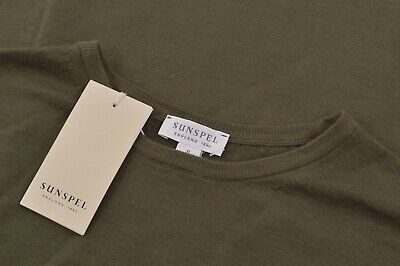 $112.49 • Buy Sunspel NWT Crew Neck Sweater Size S In Solid Muddy Military Green Wool