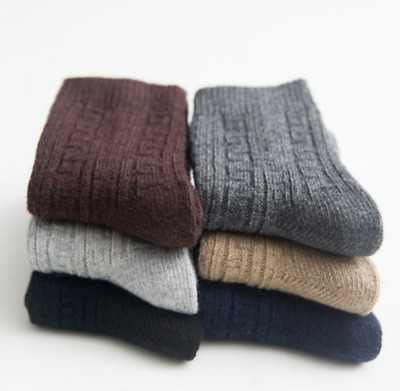 $17.99 • Buy 5 Pack Men Crew Socks Wool Cashmere Dress Casual Thick Warm Solid Boot Winter
