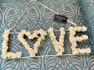 £18 • Buy Next Love Word Artificial Floral Hanging Sign Heart Ivory Roses Botanical
