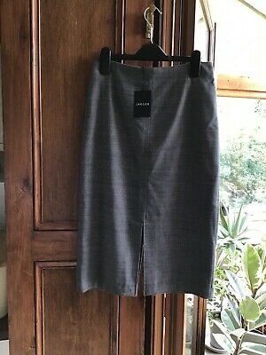 £6 • Buy Jaeger Ladies Skirt Size 6 Fully Lined Front And Back Slit, Grey - NEW