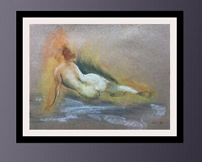 £26.99 • Buy Classical Figure Drawing Study Sketch, Signed By The Artist, Charcoal And Pastel
