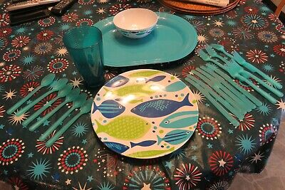 $20 • Buy Great Colorful Fish Decorated 44 Pc Set Melamine Dinnerware!! NEW!!! Serves 8!!
