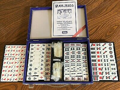 $41.69 • Buy John Jaques Mah Jong Vintage Bamboo Backed Tiles ~Solid Case Instructions Ex Con
