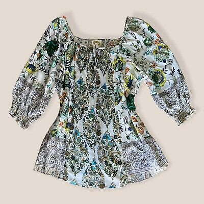 $ CDN43.69 • Buy NWT Anthropologie Fig & Flower Blouse Top Womens Size M Blue Floral Multicolored