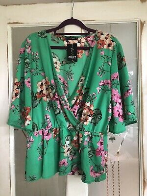 £18 • Buy Quiz Bright Green Floral Blouse Plunge Neck Size 16 Brand New