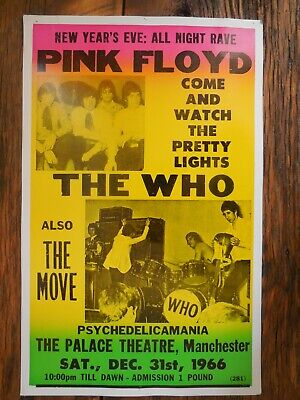 $25 • Buy Concert Poster Pink Floyd, The Who Dec 31, 1966 Palace Theatre Manchester 14x22