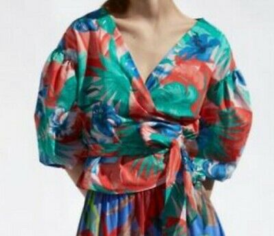 £5 • Buy Zara Bright Blouse Wrap Top Size L Large Puff Sleeve Floral Print Pattern