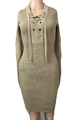 £20 • Buy Michael Kors Fitted Midi Rib Knitted Dress XS 8-10 UK Gold Lace Up Long RRP £180