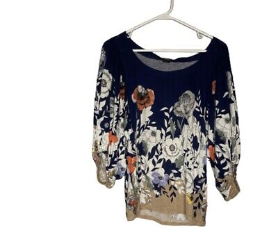 $ CDN24.92 • Buy Deletta Top Size XS Blue Floral Anthropologie Relaxed Bubble Sleeve Boho Blouse