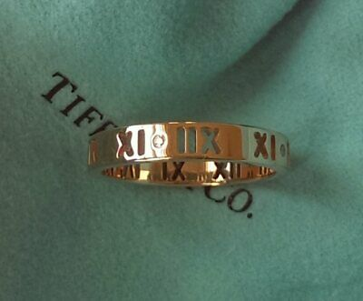 AU997 • Buy Tiffany & Co. 18ct Rose Gold And Diamond Atlas Pierced Ring Size 5.25