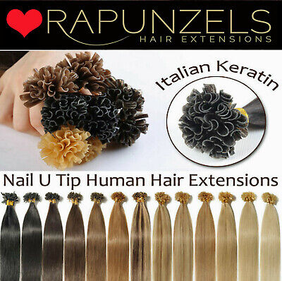 $34.74 • Buy Nail Tip Keratin Pre Bonded 1 Gram Hair Extensions Rapunzels Straight Silky Remy