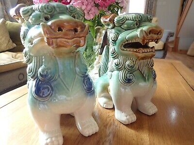 £30 • Buy Large 9  Vintage Style Chinese Foo Dogs / Lions Pair