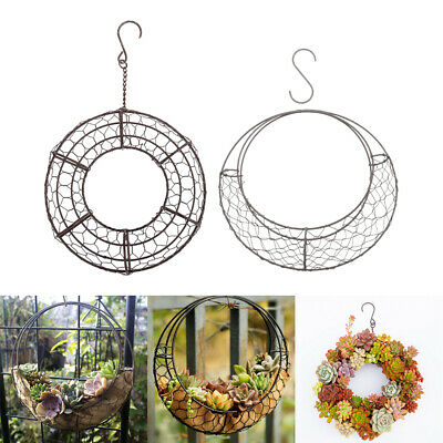 £17.47 • Buy 2 Piece Moon & Round-Shaped Metal Wire Wreath Frame Form Hangers, 28 & 21cm