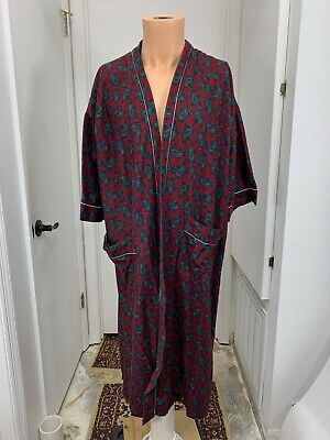 $110 • Buy Savile Row Chenille Mens One Size Robe Paisley Open Front Flannel