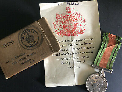 £9.99 • Buy WW2 Defence Medal In Box With Slip To Roderick John Farrell From Glasgow