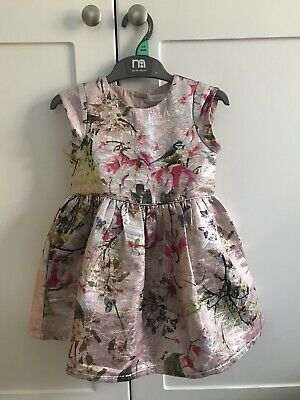 £9.50 • Buy Next Baby Girls Pink Floral Shimmer Occasion Prom Party Dress Age2-3. Worn Once!