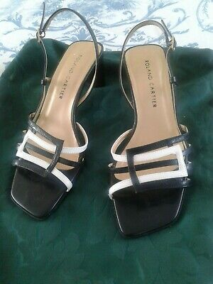£4.99 • Buy Roland Cartier Navy/white Strappy Heeled Sandals Size 371/2 (4 .5) Excellent