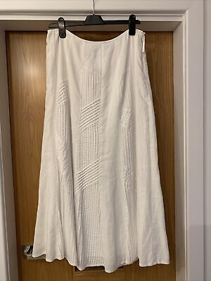 £6.99 • Buy Per Una White Cotton Skirt Size 14 Lined