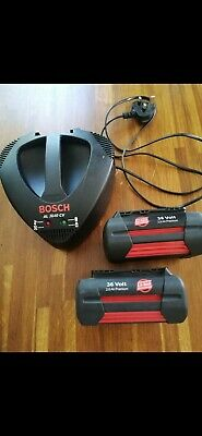 £31 • Buy BOSCH X2 Batteries And Fast Charger For BOSCH Rotak Mower