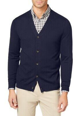 $9.99 • Buy Club Room Mens Sweaters Blue Large L Button-Front V-Neck Knit Cardigan $49 278