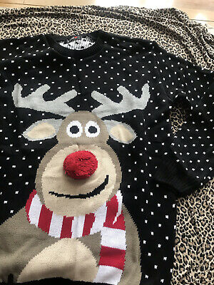 £4 • Buy Pure Fashion Reindeer Xmas Jumper With Bauble Nose Size Large BNWT KP769