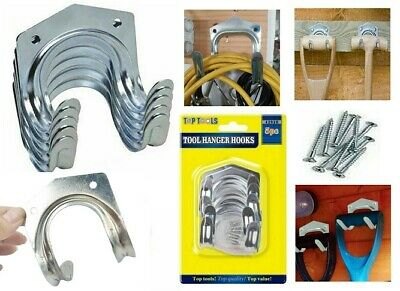 £8.45 • Buy Wall Mounted Double Arm Tools Hanger Metal Tidy Hooks Garage Shed Garden Storage