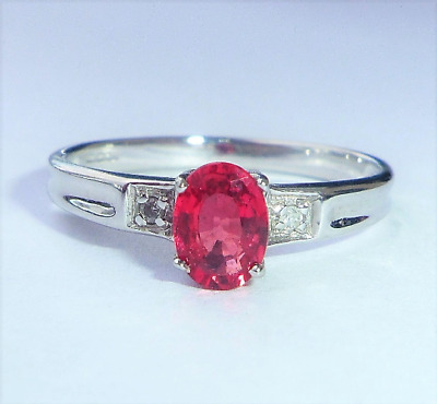 £149.99 • Buy 9ct White Gold Ruby & Diamond Solitaire Ring, Size N1/2