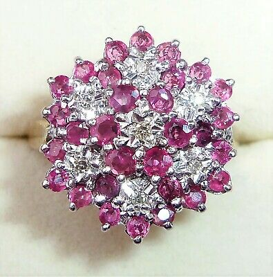 £350 • Buy Large 9ct Gold Ruby & Diamond Flower Ring, Size Q