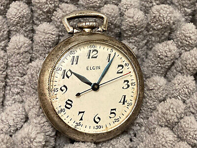 $11.50 • Buy WWII Era Small Pocket Watch ELGIN 15 Jewels Silver Sterling Case C 1939 Military