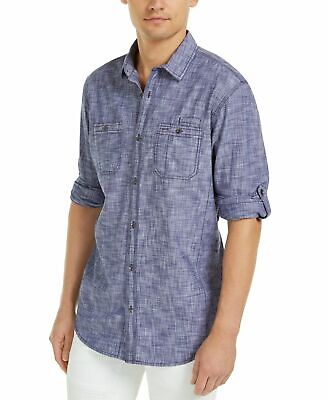 $0.99 • Buy INC Mens Shirt Blue Size Small S Button Down Chambray Dual-Pocket $49 #316